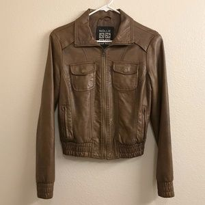 Classic Faux Leather Zip Jacket In Chocolate Brown